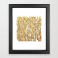 Gold & White Leaves Framed Art Print