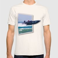 Offshore Addiction Speeds Out Of Frame Mens Fitted Tee Natural SMALL