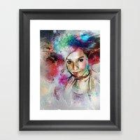 Girl with Multi-Colored Hair Framed Art Print