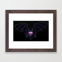 Neon Bat Framed Art Print