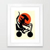 alien on a chopper Framed Art Print