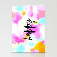 Happy - Bright neon pink abstract typography Stationery Cards