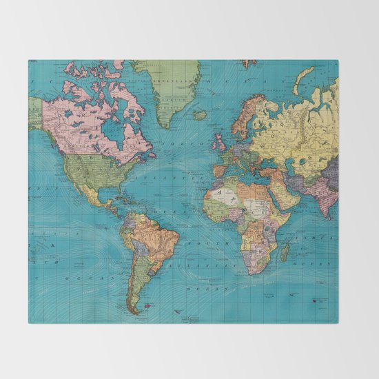 World Map Throw Rug: Vintage Map Of The World (1897) Throw Blanket By