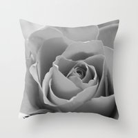 Roses (Black and White) #2 Throw Pillow