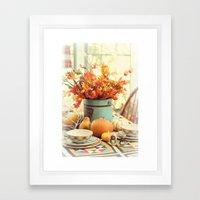 The Autumn table Framed Art Print