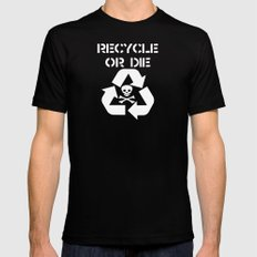 Recycle White Mens Fitted Tee SMALL Black