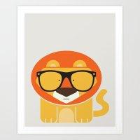 Hipster Lion Art Print Art Print
