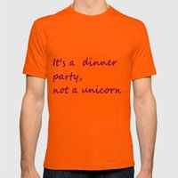 Hannibal Quote: It's a Dinner Party Not a Unicorn Mens Fitted Tee Orange SMALL