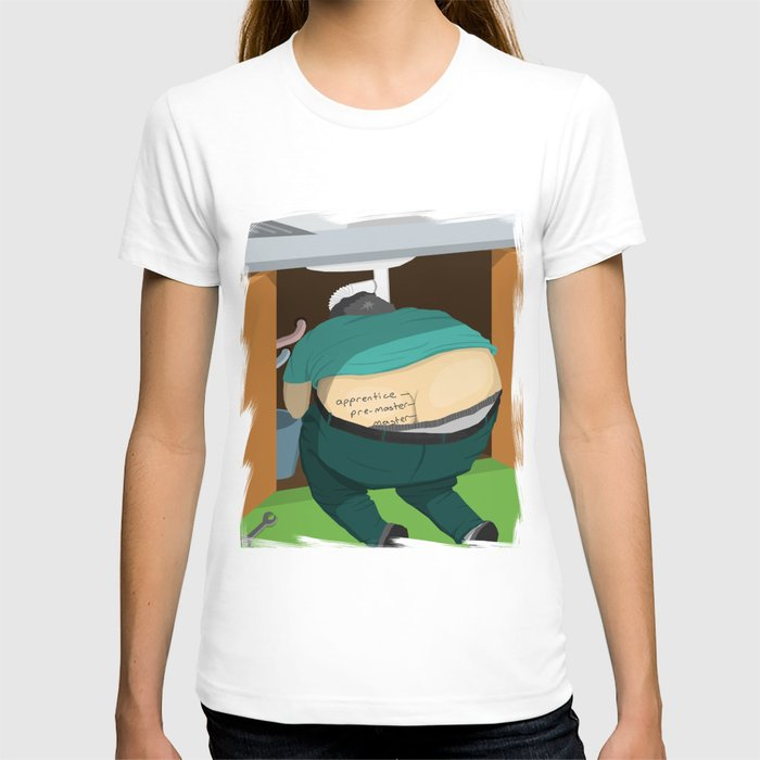 School of plumbers lesson one ass crack t shirt by for Plumber t shirt cleavage