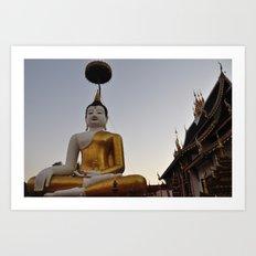 Buddha and Temple Architecture Art Print