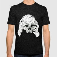Skull In Hands Mens Fitted Tee Tri-Black SMALL