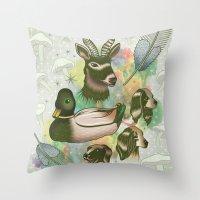 Duck, Deer & Dogs Throw Pillow
