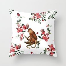 Monkey World: Nosy - Whi… Throw Pillow