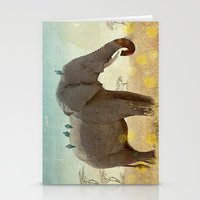 along for the ride _ an elephant and his feathered friends Stationery Cards