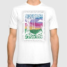 Sunset Swing Papercut SMALL Mens Fitted Tee White