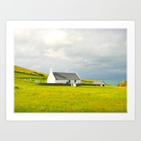 Mwnt Chapel. Cardigan. Embossed. Art Print