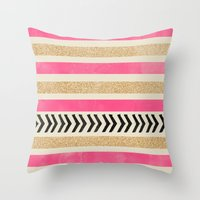 PINK AND GOLD STRIPES AND ARROWS Throw Pillow