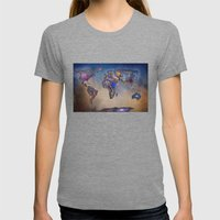 Stars world map. Blue. World map Womens Fitted Tee Tri-Grey SMALL