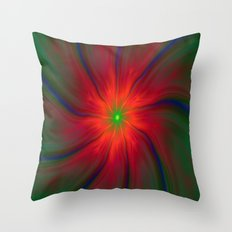 Green Eyed Swirl on Red Throw Pillow