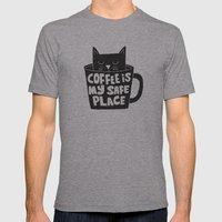 coffee is my safe place Mens Fitted Tee Athletic Grey SMALL