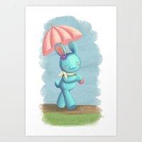 Walking On A Rainy Day Art Print