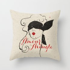 Black Red Vintage French Illustration Woman Sketch Throw Pillow