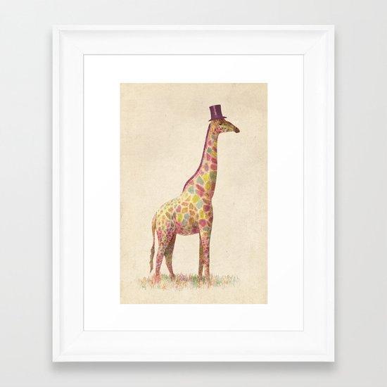 Fashionable Giraffe Framed Art Print