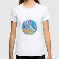rainbow swirl Womens Fitted Tee Ash Grey SMALL
