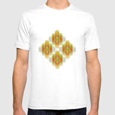 60's Pattern White Mens Fitted Tee SMALL