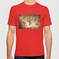 Stars world map. Sepia Mens Fitted Tee Red SMALL