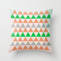 Fly in Pink / Colored Triangles Throw Pillow