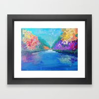 AROUND THE RIVERBEND - Autumn River Modern Nature Pochahontas Abstract Landscape Acrylic Painting Framed Art Print