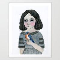 Edwina And Her Bluebird Art Print
