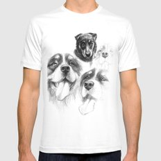 Dogs  sk128 White SMALL Mens Fitted Tee