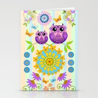 Cute Owls, Paisley shapes and Flowers Stationery Cards
