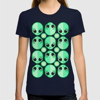 Happy Alien and Daisy Nineties Grunge Pattern Womens Fitted Tee Navy SMALL