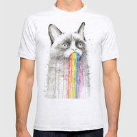 Grumpy Rainbow Cat Watercolor Mens Fitted Tee Ash Grey SMALL
