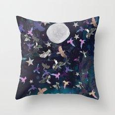 Midnight Birds Throw Pillow
