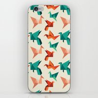Teal Paper Cranes iPhone & iPod Skin