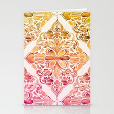 Sunset Art Nouveau Watercolor Doodle Stationery Cards
