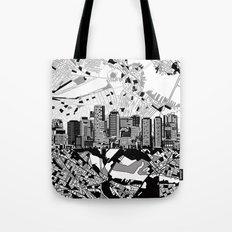 boston city skyline black and white Tote Bag