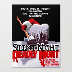 8 Bit Silent Night, Deadly Night Canvas Print