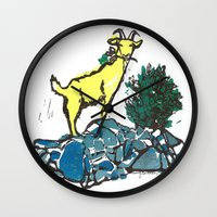 Goatie McGoatersons (colored version) Wall Clock