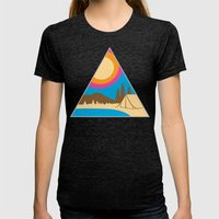 Camping Womens Fitted Tee Tri-Black SMALL
