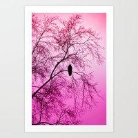The Sentinal ~ Pink Abstract Art Print