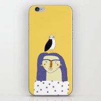 Women and Owl, owl art, people, illustration, fashion, style,  iPhone & iPod Skin