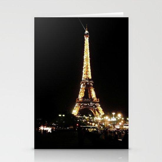 Eiffel Tower at Night Stationery Card