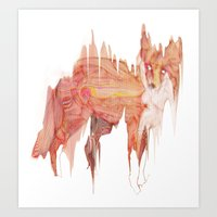 Remix Red Fox Art Print