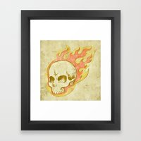 Flaming Skull Framed Art Print