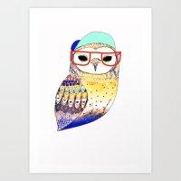 Hipster Owl, Hipster, Ow… Art Print